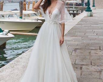 Boho Wedding Dress, Designer Wedding Dress, Transparent Corset, Silk Wedding  Dress, Lace