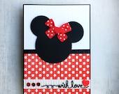 Minnie Mouse card - handmade designer card - cute dimensional card for any occasion - girl / lady card - bold cute card