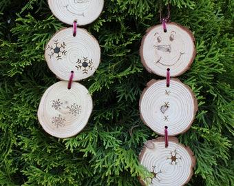 Wood Round Snowman Christmas Ornament - Ribbon