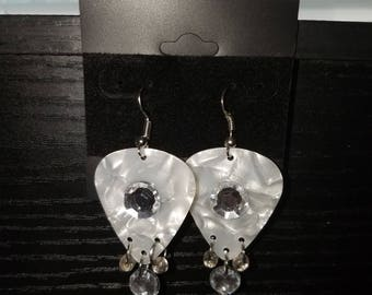 Rhinestone guitar pick earrings