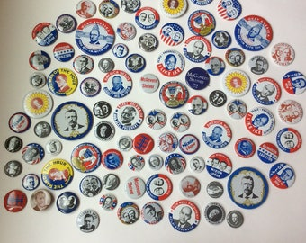 90 Reproduction Campaign Buttons, Pinbacks, Ike, Nixon, Woodrow, Landon, Truman, 1980s, Presedential History, Voting, INSTANT COLLECTION