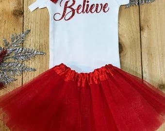 Believe baby onesie, believe baby, santa onesie, holiday baby girl, onesie sets, christmas onesie, christmas baby girl, christmas outfit