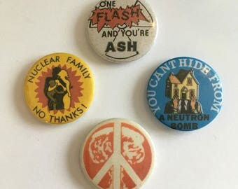 Set of 4 Anti War Nuclear Weapons Peace Retro Vintage Style Badges