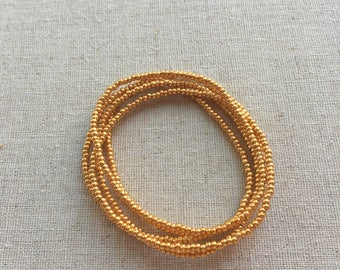 Seed Bead Stretch Layering Bracelet- Bright Gold