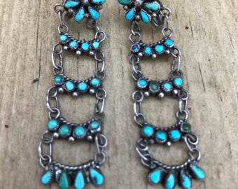 RESERVED for MIA. Do not purchase. Vintage Native American Jewelry/ Zuni Earrings/ Turquoise Earrings/Old Pawn Indian Jewelry/Screw Back