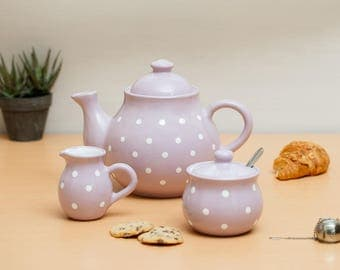 City to Cottage Violet And White Polka Dot Handmade Hand Painted Ceramic Tea Set of 3