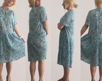 50s Retro Day Dress size 14/ Retro Dress/ Vintage Dress/ Blue Dress/ Day Dress/ 1950s Dress/ Made in Australia