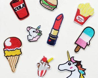 Iron-on Patch, Hamburg Patch, Lipstick Patch,Cola Patch,Ice Cream Patch,Popsicle Patch, Unicorn Patch, French Fries Patch. Patches Set