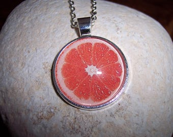 Citrus Slice Grapefruit Pendant Necklace