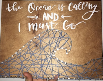 Wave Nail and String art with Hand Lettered Quote