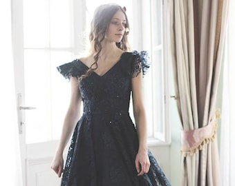 Long lace dress, navy prom ball dress  - MASQUERADE EVENING GOWN - empire dress - made in Europe - Sisi dress