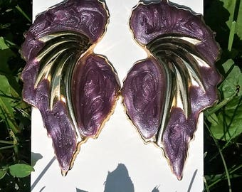 80's Large Wing Pierced Earrings, purple and gold toned enameled 90's earrings, fairy, angel, Night Vale, Erika, Old Woman Josie cosplay