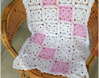 Hand crocheted baby blanket in white and pink, unusual granny square blanket, blanket for baby girl, baby shower gift, immediate shipping