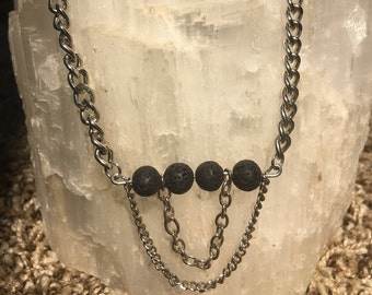 Essential oil diffusing necklace made with lava stones  - Unique one of a kind! Free shipping!