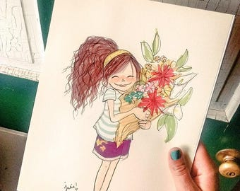"""Wall Art decor illustration """"Say it with Flowers"""" print Nature art Outdoors"""
