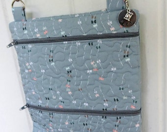 Crossbody Bag: Quilted Sky Blue Print fully lined with credit card pockets
