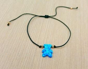 Bracelet or Choker. Bear bracelet, Blue opal, red string, black string, adjustable, braided, Kabbalah, luck, silver, gold, opal
