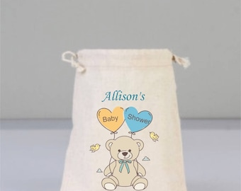 Personalized Baby Shower Pouch with Small Bear, Baby Shower Decorations,  Baby Shower Party, Boy Baby , Girl  Baby, Cotton Bag Drawstring