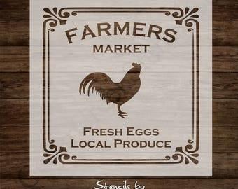 Farmers Market Stencil, Reusable 7mil mylar stencil, primitive craft stencil, sign stencil, Rooster Stencil, Pillow Stencil, wall stencil