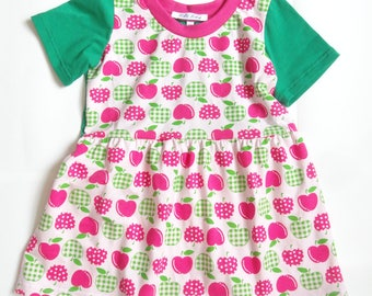 Girls Pink And Green Apple Jersey Dress Age 2-3 Years