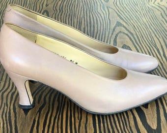 1980's Evan Picone Taupe Pumps | Vintage Pumps | Women's Heels | Size 9.5