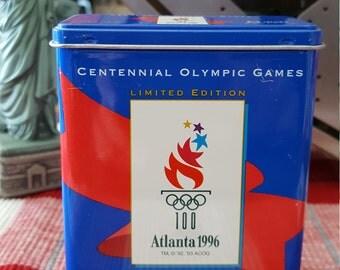Curad bandage box vintage 1996 Atlanta Centennial Olympic Games metal tin 7 Adhesive bandages Izzy mascot souvenir summer games ltd edition