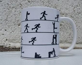 Roller derby / skate themed white 11oz ceramic orca coated mug