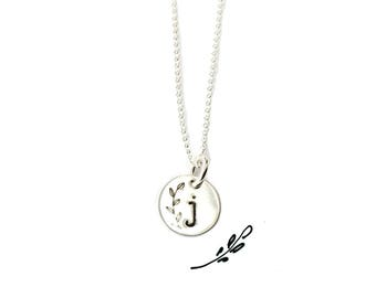 Delicate Initial-Necklace Letter-j-Necklace Sweet-16 Lowercase Monogram Stamped SS Initial Wedding-Party-Gift Twin Sister-Gift Friend-Gift