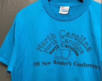 L vintage 90s 1995 North Carolina readers are leaders t shirt