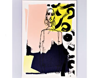 Acne Studios #2 Limited Edition Screen Print, Fashion Gift, Original Art, Fashion Illustration, Fashion Sketch, Hand Printed, Drawing