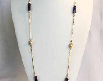 Napier Chain Necklace, Faux Pearls, Faux Amethyst Beads, Gold Tone, Vintage, 1980s