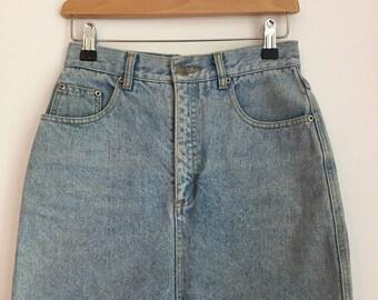 Vintage Denim Skirt Women's Denim Skirt High Waist Mini Skirt Size 6 Size 8