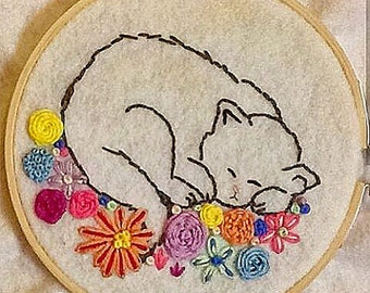 Sleeping Cat with Flowers Embroidery