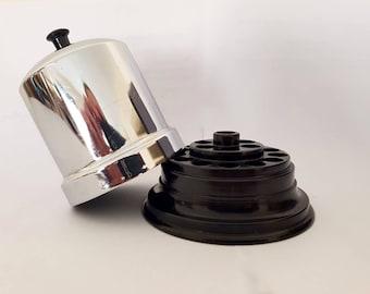 Vintage Cigarette Holder with Bakelite, Metal Cigarette Dispenser, Vintage Silver Cigarette Box
