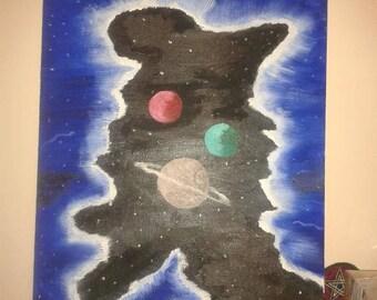 "Old Man Nebula, Vibrant ,Painted On 16""x20""Flat Canvas,Original Oil painting"