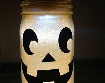 Glittered, illuminated Pumpkin - Mason jar