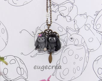 Necklace my donkeys in Fimo