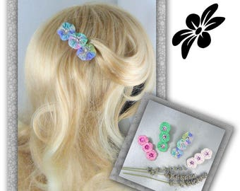 anti-slip garnished with Lavender silk flower clip special hair - several colors - romantic - made in France
