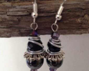 Black Crystal and Pearl Wire Wrapped Earrings