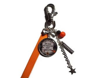 "Keychain - gift teacher bag charm ""I'm a teacher that provides"" / end of year gift"