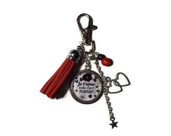 "Keychain - MOM gift bag charm ""Super MOM"" / personalized/party for moms/Keychain/Red"