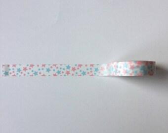 Scrapbooking Masking tape Washi tape étoiles rose bleu