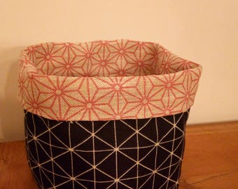 basket pattern graphics, blue, pink and beige