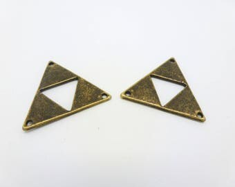 2 connectors triangle 30 * 26mm 3 holes ethnic geometric bronze (8SCB05)