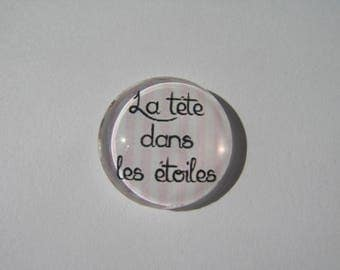 "Cabochon 18 mm with the Scripture ""head in the stars"""