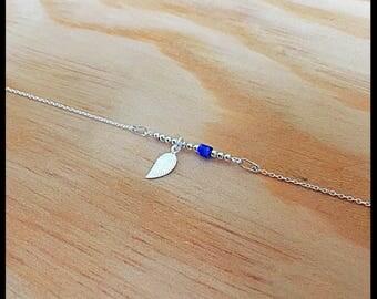 """My precious grigri"" bracelet in silver and Lapis Lazuli semi-precious stone"