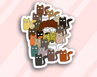 Funny valentine's day print, Valentines day stickers, Sticker set, Crazy cat lady,