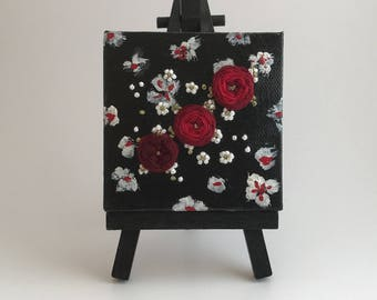 Red Rose Trio - Embroidery On Canvas - Miniature Art