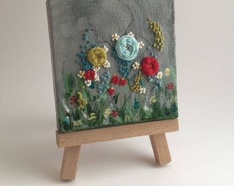 Misty Morning Garden - Embroidery On Canvas