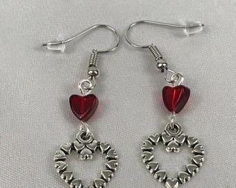 Heart Earrings, Silver Hearts, Dangle Earrings, Heart Shaped Earrings, Red Heart Bead, Gift for Her, Drop Earrings, Silver Jewelry, Love You